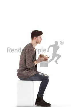 3d people casual, young man sitting and drinking coffee