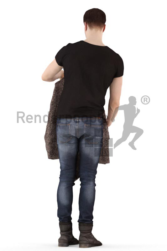 3d people casual, young man standing and holding a cardigan up