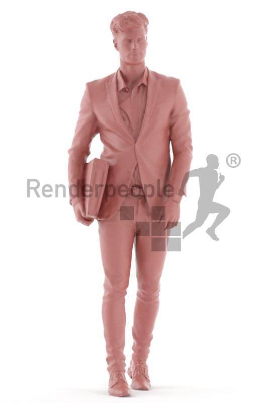 3d people business, man walking with a folder under his arm