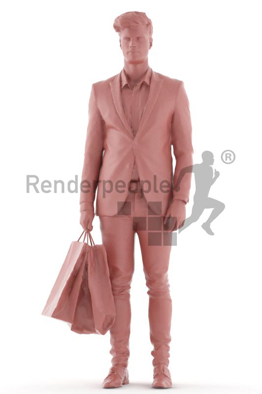 3d people business, young man walkingwith shopping bags