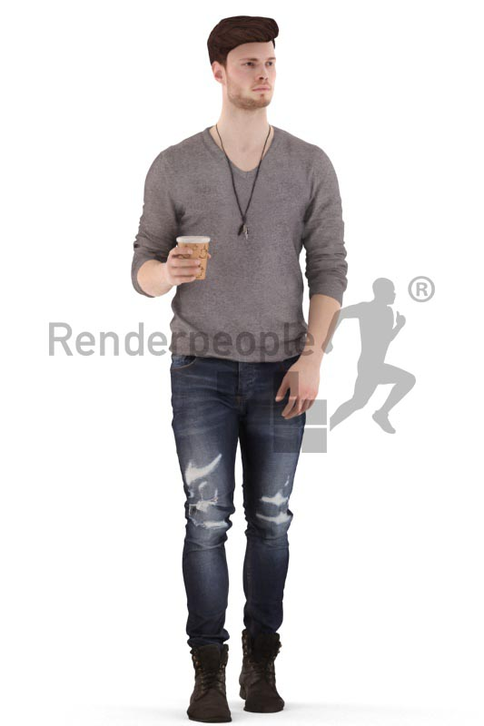 3d people casual, jung man walking and drinking coffee