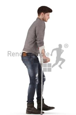 3d people casual, jung man walking with crutches