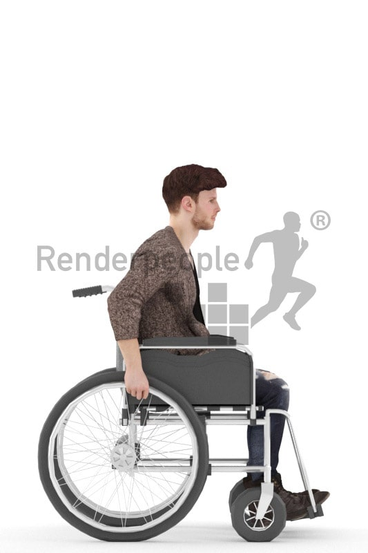 3d people casual, jung man sitting in a wheelchair