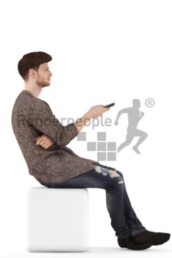 3d people casual, young man sitting and watching TV