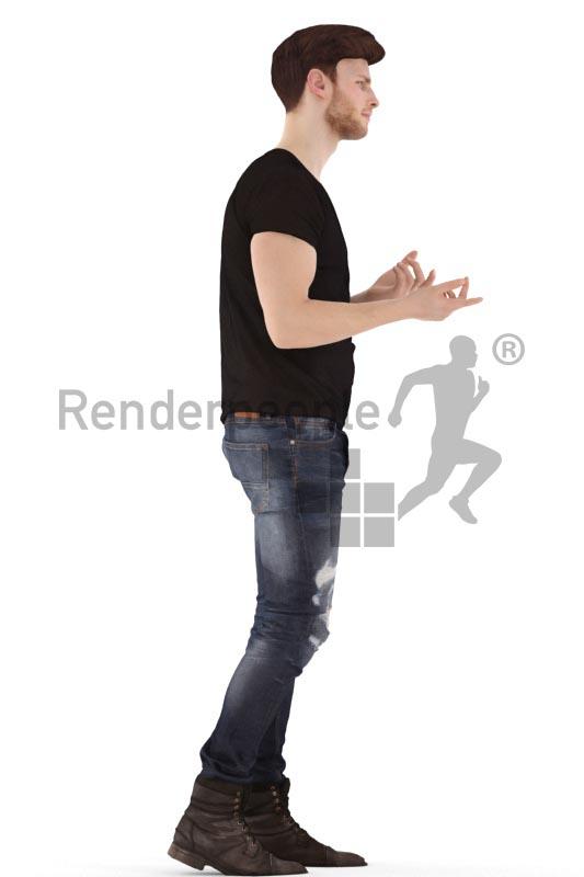 3d people casual, jung man walking and debating