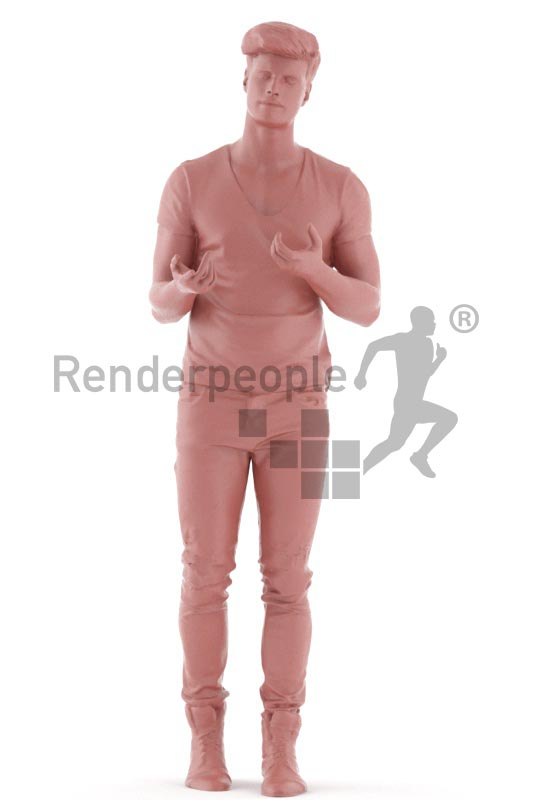3d people casual, jung man walking and debating