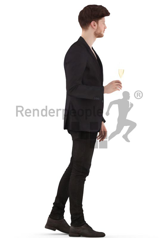 3d people event, man walking and holding a glass