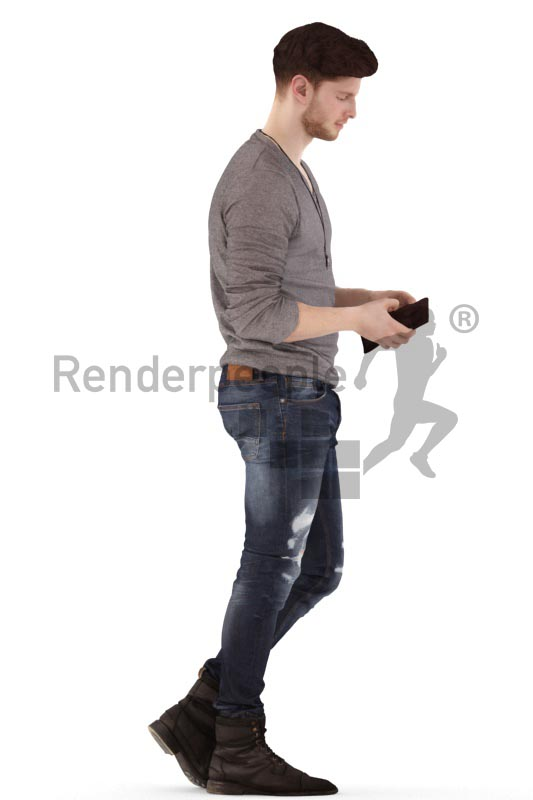 3d people casual, jung man walking, searching in his wallet