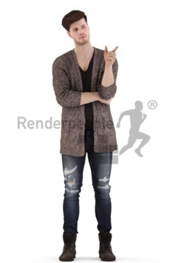 3d people casual, jung man standing and pointing