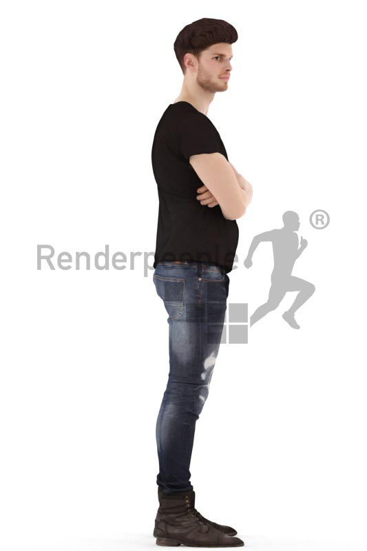 3d people casual, jung man standing with the arms crossed