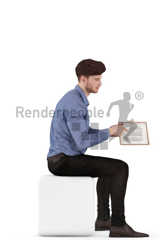 3d people business, jung man sitting with a clipboard