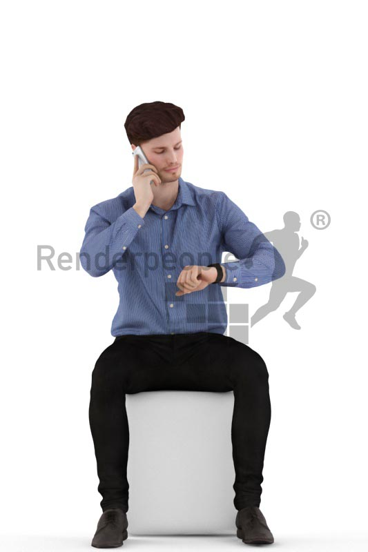 3d people business, jung man sitting calling and looking at his watch