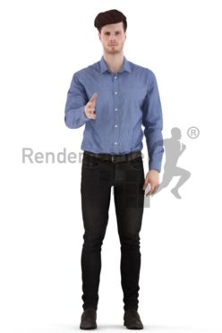 3d people business, jung man standing, shaking hands