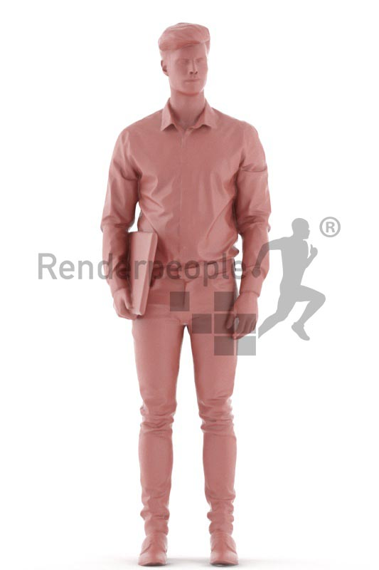 3d people business, jung man standing with a laptop under his arm