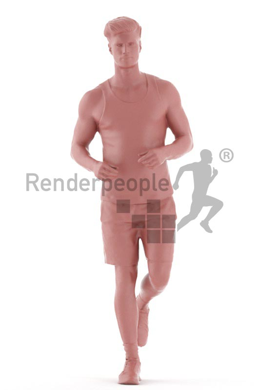 3d people sports, jung man running