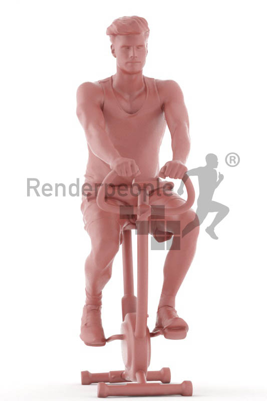 3d people sports, jung man on an exercise bike
