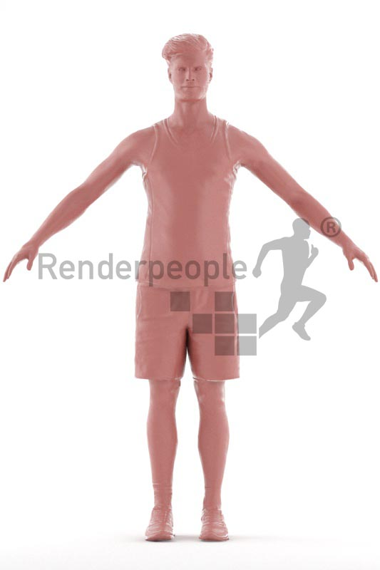 3d people sport, rigged man in A Pose