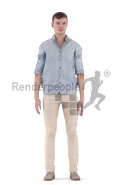 3D People model for animations – european man in smart casual look, standing