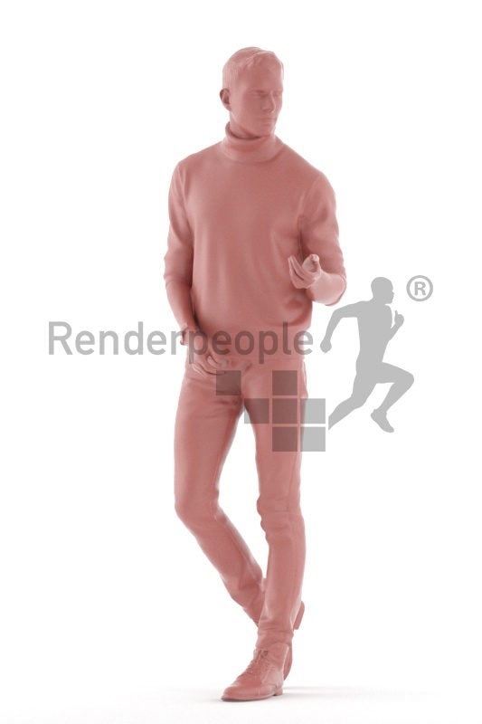 3d people casual, 3d white man walking and talking