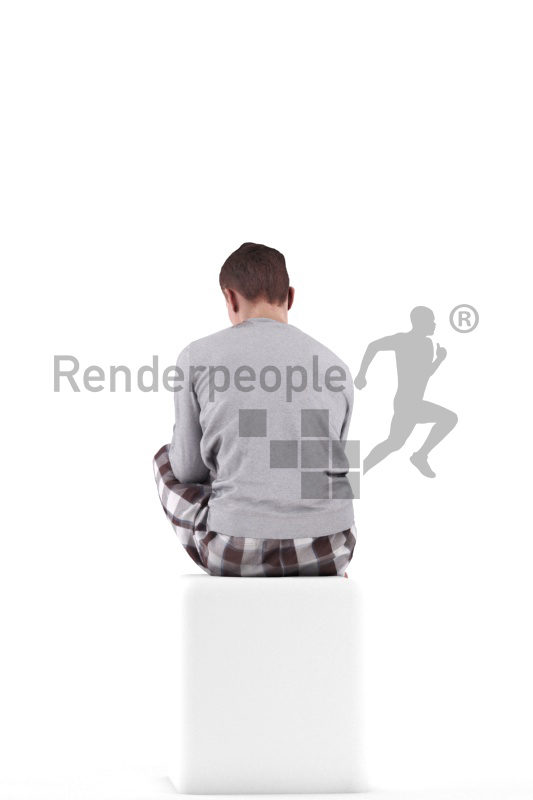 3d people sleepwear, white 3d man sitting and eating
