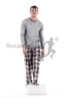 3d people sleepwear, white 3d man, walking up stairs