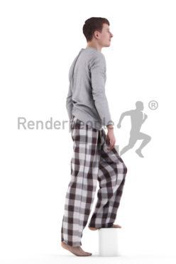 3d people sleepwear, white 3d man, walking up stairs