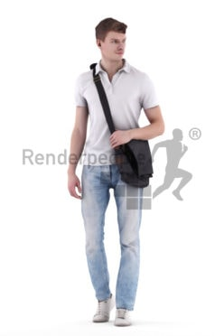 3d people casual, 3d white man walking with bag