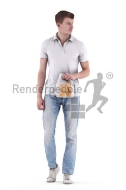 3d people casual, 3d white man walking and holding lunch bag