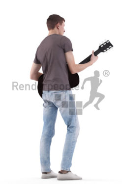 3d people casual, white 3d man standing and playing guitar