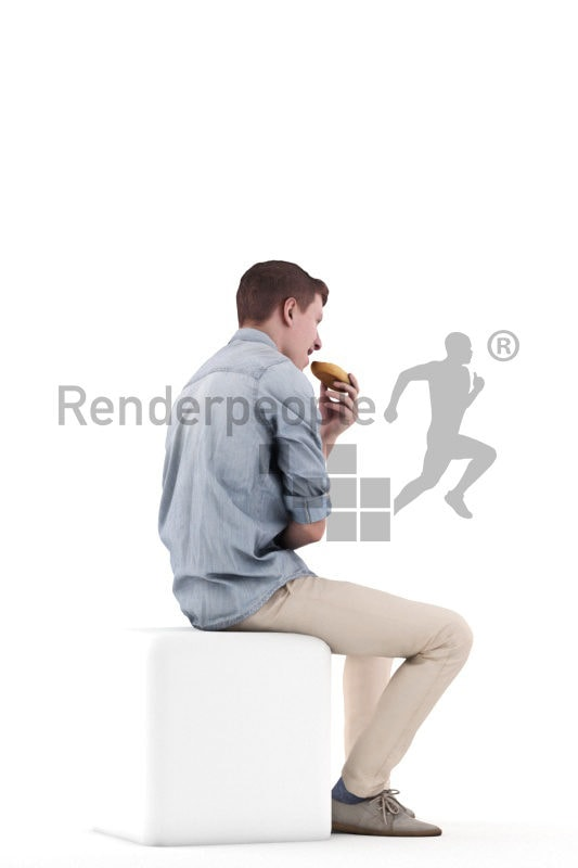 3d people casual, white 3d man sitting and eating