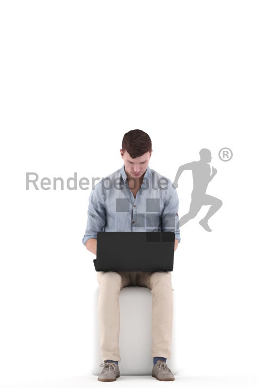 Realistic 3D People model by Renderpeople – white man in smart casual look, sittingand working with laptop