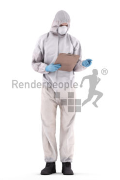 3d people medical, white 3d man reading and wearing gloves