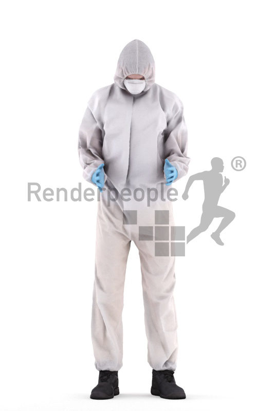 3d people medical, white 3d man standing and wearing gloves