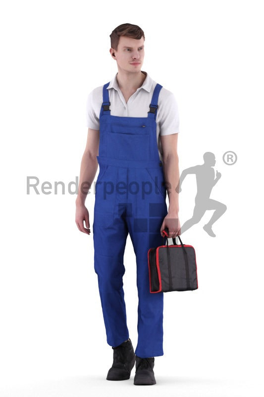 3d people worker, white 3d man standing and holding a bag
