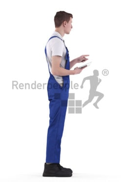 3d people worker, white 3d man standing and holding tablet