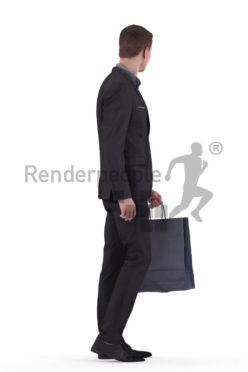 3d people business, white 3d man standing and holding a paperbag