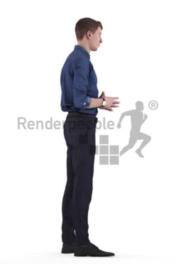 3d people business, white 3d man standing