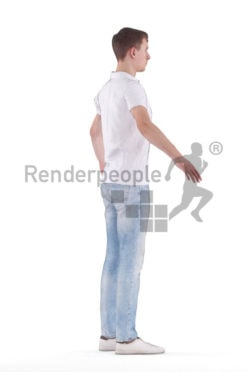 Rigged and retopologized 3D People model – white man in poloshirt and jeans, casual