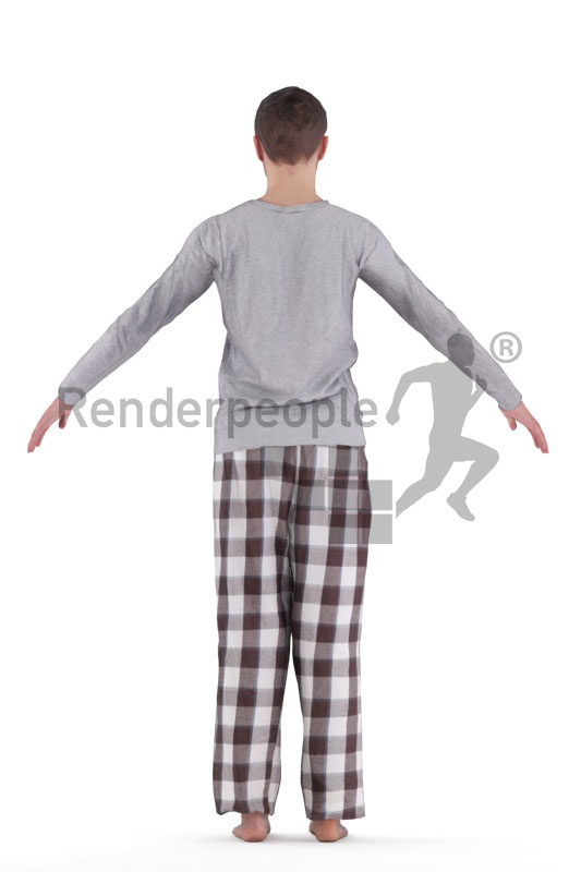 3d people sleepwear, white 3d man rigged
