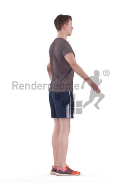 Rigged human 3D model by Renderpeople – white man in sports clothing