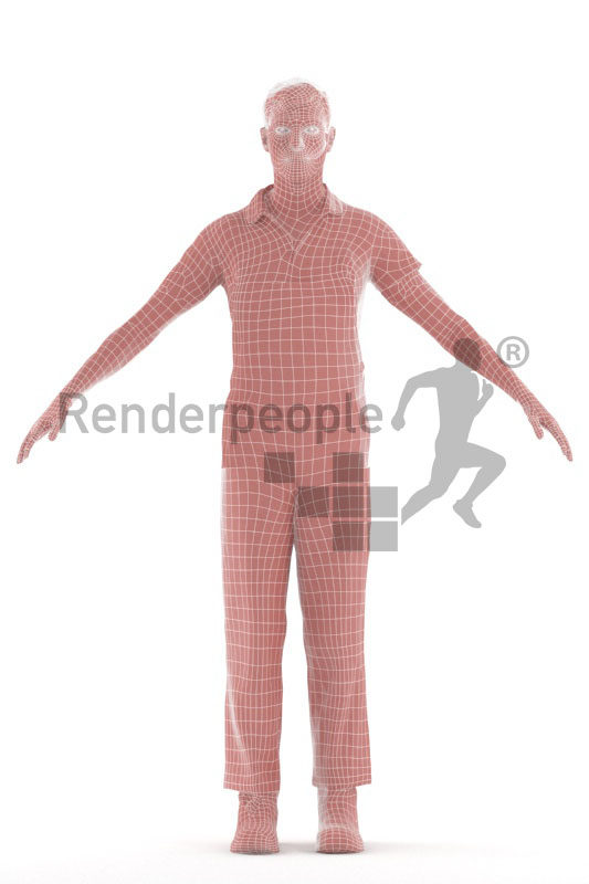 3d people worker, white 3d man rigged