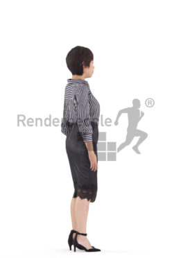 Animated 3D People model for Unreal Engine and Unity – asian woman in office look, standing