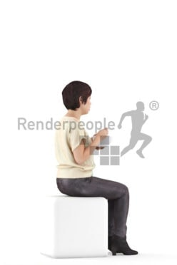 Photorealistic 3D People model by Renderpeople – asian woman, casual look, sitting and eating