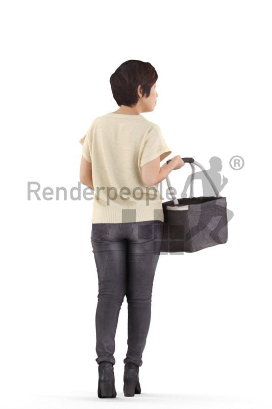 Posed 3D People model by Renderpeople – asian woman in daily outfit, walking with basket