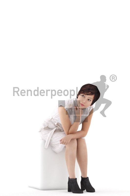Posed 3D People model by Renderpeople – asian woman in business dress, sitting and listening