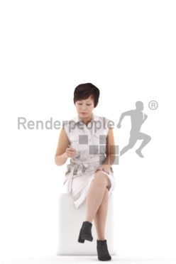 Photorealistic 3D People model by Renderpeople – asian woman in office clothing, sitting and writing something down
