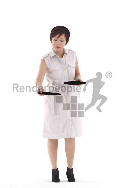 Posed 3D People model for visualization – asian woman, casual dress, serving plates
