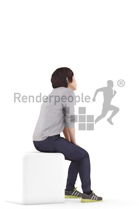 Posed 3D People model for renderings – asian woman in a daily outfit, sitting