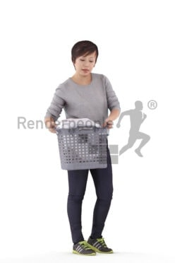 3D People model for 3ds Max and Sketch Up – asian woman with laundry basket, casual homewear, walking