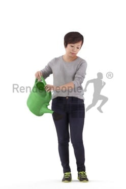 3D People model for 3ds Max and Maya – asian woman with a watering can